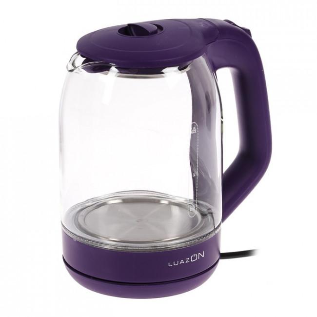 Чайник электрический LuazON LSK-1809, 1500 Вт, 1.8 л, стекло, подсветка, фиолетовый