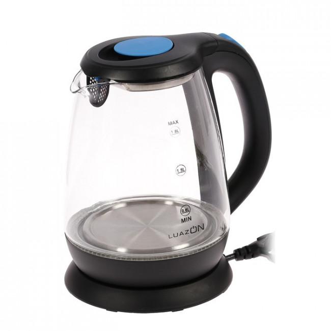 Чайник электрический LuazON LSK-1810, 1500 Вт, 1.8 л, стекло, подсветка, черный