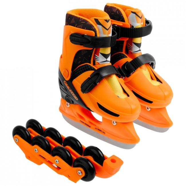 Коньки ледовые раздвижные 223G с роликовой платформой, PVC колёса, размер 26-29